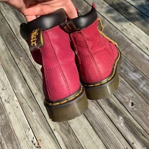 Burgundy Dr Martens. Great during any season.